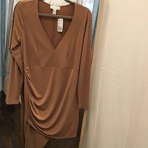 🔴 F21+ Taupe Long Sleeve Dress NWT